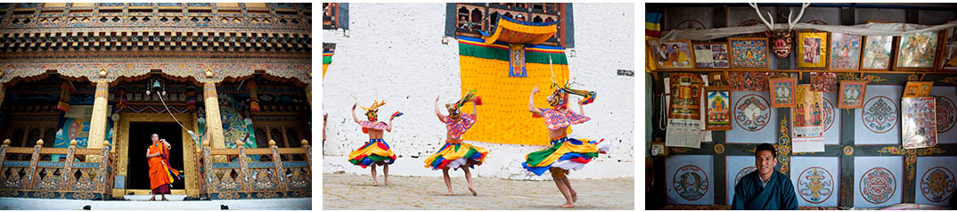 Paro festival dancers on a Bhutan photo tour