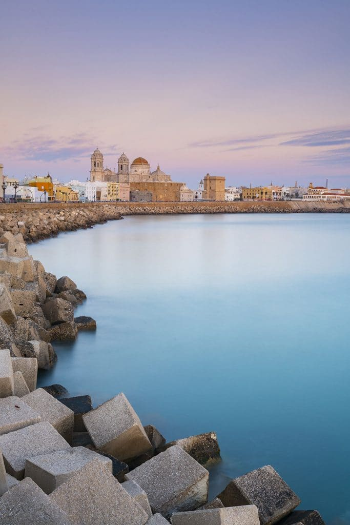 View of Cadiz and the cathedral from across the water