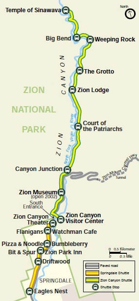 Shuttle map of Zion Canyon