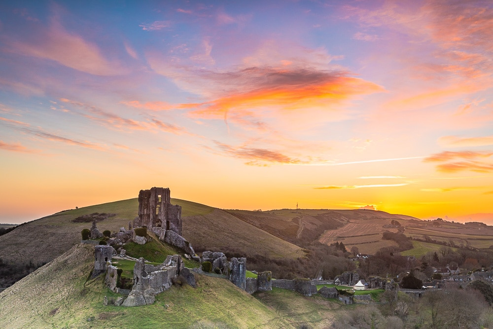 Corfe castle dorset sunrise