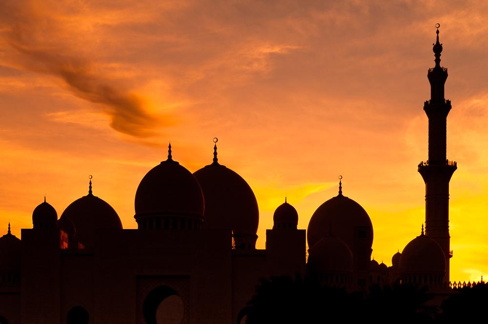 uae sheikh zayed mosque silhouette