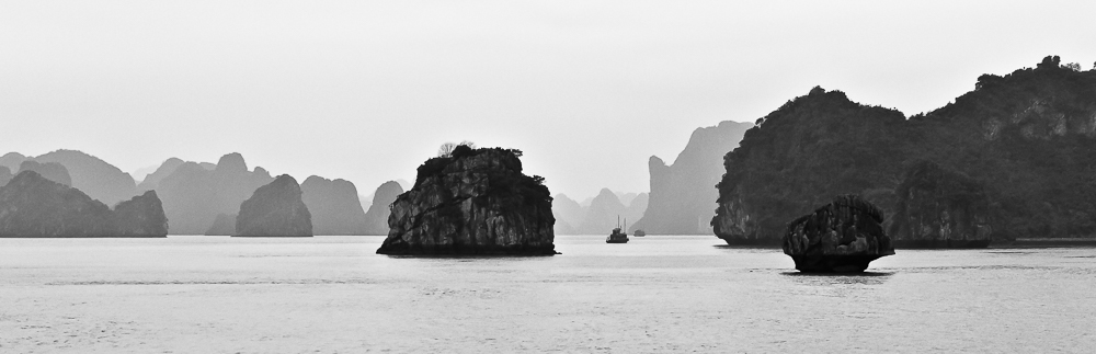 black and white halong bay