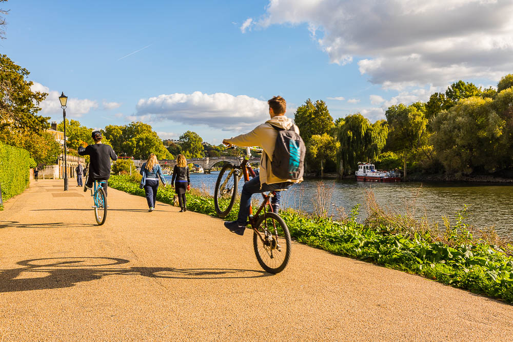 people cycling in Richmond, London