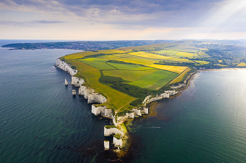 Old Harry's Rock, Dorset shot by a drone
